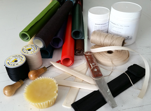 Bookbinding supplies group shot